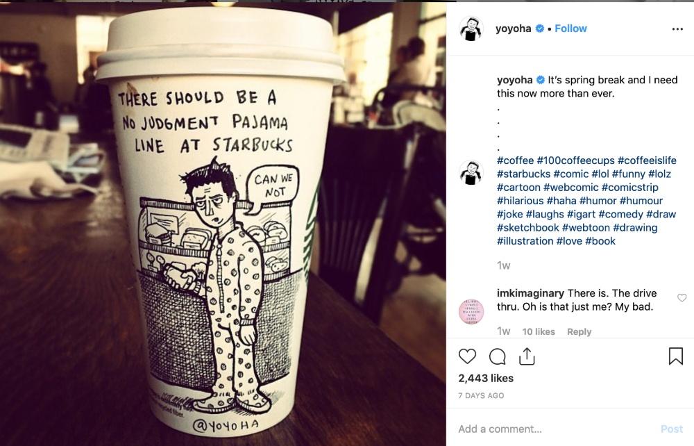 instagram influencer yoyoha draws comics on cups